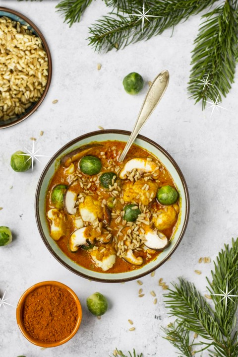 Bloemkool spruitjes curry